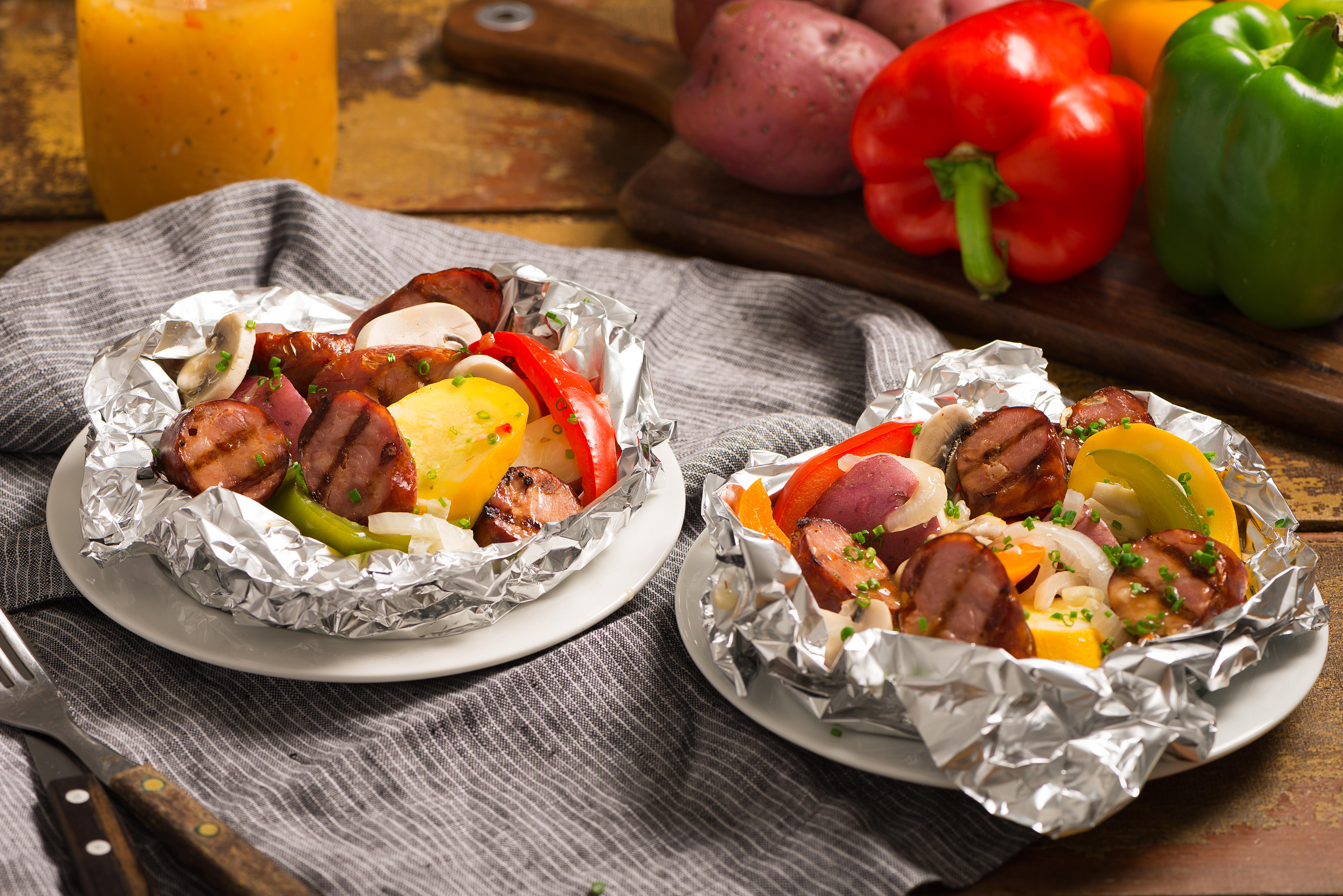 Grilled Kielbasa and Mixed Veggie Packs